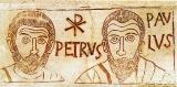 Die Kirchenväter Petrus und Paulus und das Christusmonogramm