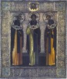 Преподобные Далмат, Исаакий Далматский и Фавст в молении Спасу Нерукотворному