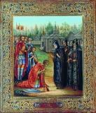 Икона Святой Сергий Радонежский благословляет князя Димитрия Донского на Куликовскую битву.