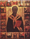 Икона Николай Чудотворец с житием