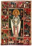 Никола с Христом, Богородицей, святыми Косьмой и Дамианом и 16 клеймами
