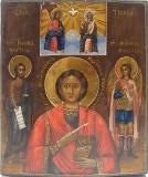 Великомученик Пантелеймон целитель с предстоящими св. Иоанном Предтечей и св. Архангелом Михаилом