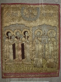 Пелена Св. муромские князья Михаил, Константин и Феодор, Пётр и Феврония, предстоящие Богоматери Знамение