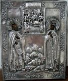 Преподобные Симеон Дивногорец и матьь его Марфа с иконой Успения