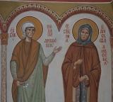 Икона святых блаженных Дивеевских Пелагии, Параскевы, Марии